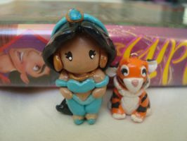 Aladdin- Mini Jasmine Charm with Raja by knuxnbats