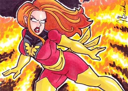 Sketch Card 180 - Dark Phoenix by JasonRocket
