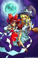 Reimu and Marisa by JoeOiii