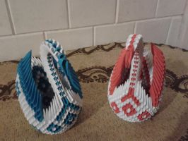 3D Origami Blue and Red Winged Swan by Vycka3DO