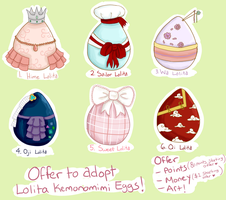 Offer to Adopt Lolita Kemonomimi Eggs (CLOSED) by Pepperjack-Kiwi