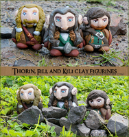 Thorin, Fili, and Kili Clay Figurines by Comsical