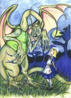 Alice meets the Jabberwocky by Jenny42