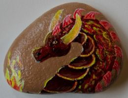 Firedragon - Rock Painting by Annamoon77