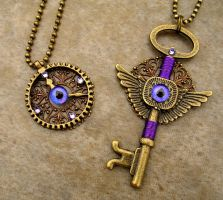 Romantic Purple Steampunk Set - Gear Heart Key by LadyPirotessa