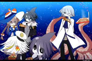 wait why are fishes eating pizza underwater by mijikai-o-tan