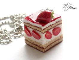"Pendant ""Strawberry cake"" by OrionaJewelry"