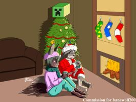 COM : Bane and Serana in Christmas moment by whiteguardian