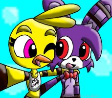 Bonnie and Chica Collab with animalcomic96 by NavyBlueRain