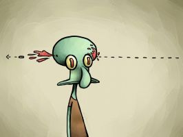 Headshot Squidward. by CinderellasCorpse
