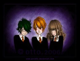 HP . Harry + Ron + Hermione by HogwartsArt