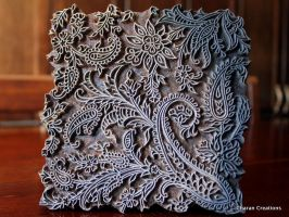 Indian wood Textile Stamp:Seamless Paisley Pattern by CharanCreations