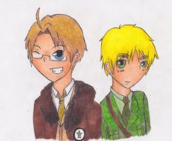 Hetalia: America and England by RainbowSketcher01