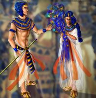 Tutankhamon and Ankhesenamon by ElychazTut97