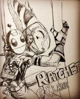 Ratchet and Clank ink drawing by K9Assassin
