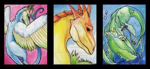 Three Dragon ACEOs by Falloway