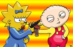 Maggie vs. Stewie by The-Simpsons-Fanclub