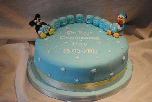 Mickey mouse christening cake by starry-design-studio