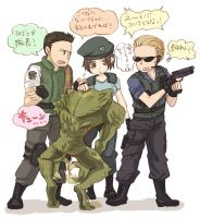 Hunter and Wesker team by piyo119