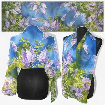 Silk scarf 'Lilac' hand painted - FOR SALE by MinkuLul
