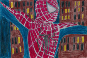 Spider-man's evening swing by MarcyEveret