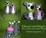 Maggie and Edward, lemur amigurumi by KnitLizzy
