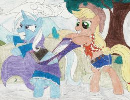 Request - Applejack wedgies Trixie by wjmmovieman