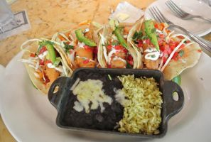 Tempura Fish Tacos with black beans and rice by Shinseigo-Takashi