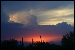 Red White Blue Monsoon Sunset by RooCat