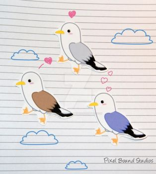 Chibi Seagull Stickers and Magnets by pixelboundstudios