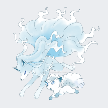 Ninetales and Vulpix Aloha form by xldollboylx