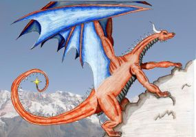 dragon climbing  mountinsCOLOR by DraveDragonheart
