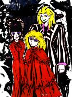 Beetlejuice, Lydia,and Ophelia by Midniteoil-Burning