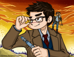Commission - DW - Tenth Doctor and Zepheera by caycowa