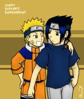 For FMN: Naruto and Sasuke by cherlye