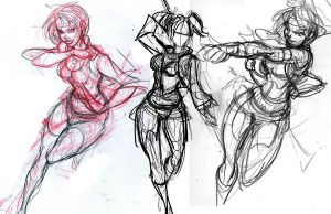 Inari - Action Sketches WIP by mikewinn