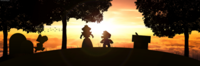 Mario and Peach with Yoshi see the sunset by Irham7762