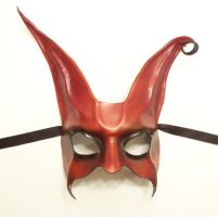 Leather Rabbit Mask a little Freaky Red with Black by teonova