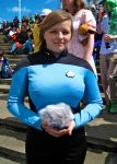 Starfleet Officer with a tribble by ZeroKing2010