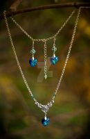 Bermuda Blue Triangle Set of Earrings and Necklace by Johanna-Ferrius