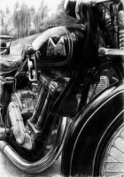 Matchless 500 - pencil on A4 by WildGoska