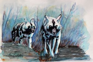 African Wilddogs by Midnight-Sun-Art