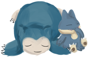 Snorlax and Munchlax by sorjei