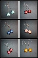 Origami Earring: stars n mario by Silveril