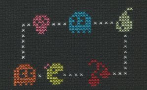 Cross Stitch Fanart-Ms Pac Man by missy-tannenbaum