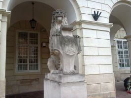 The lion statue in font of the city hall in Lviv by rosenglas