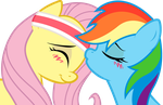 Dash and Fluttershy: sweet kiss by KennyKlent