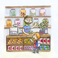 candy store watercolour by TRAVALE