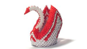 3D origami red winged swan by Girnelis