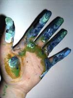 Earth paints hand by IcyiKazumi
